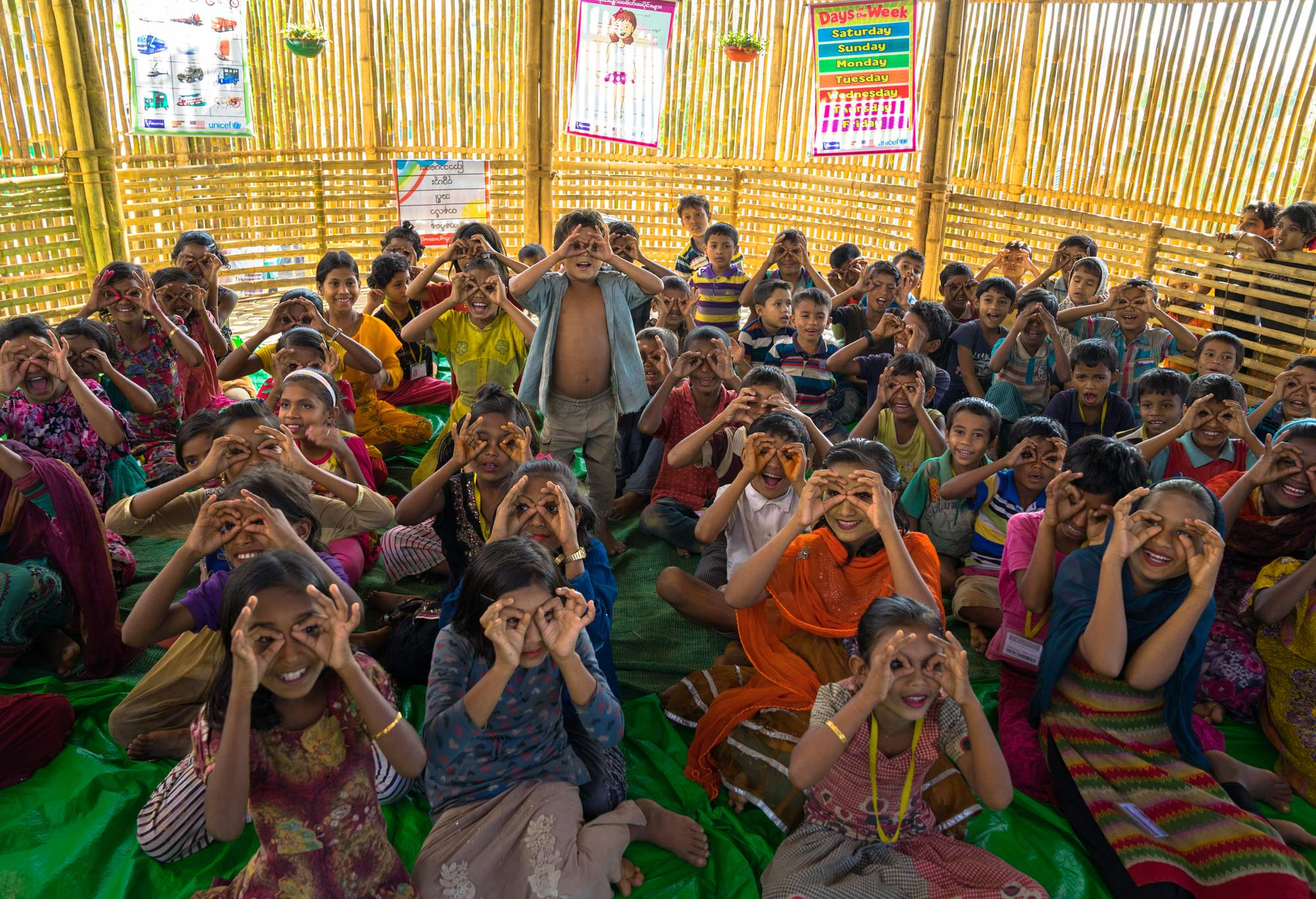 Rohingya children enjoy playing and learning in a refugee camp in Bangladesh. Photo: Arif Zaman.